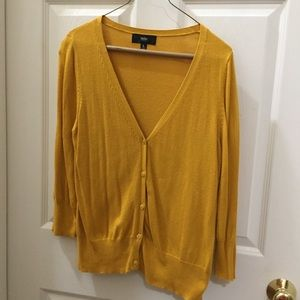 Mustard Yellow V-Neck Cardigan